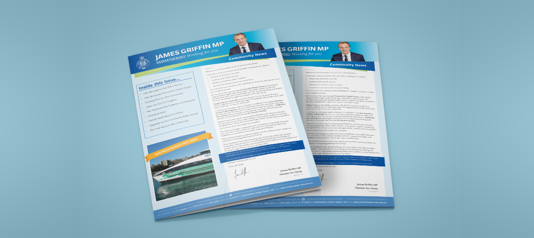Graphic Design for MP James Griffin