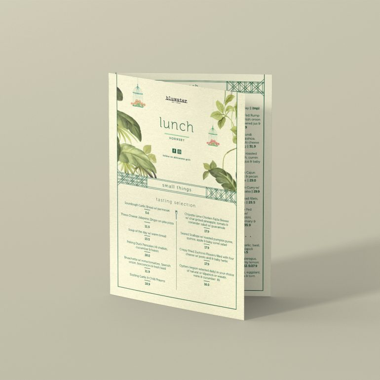 Menu Design for Blu Water Grill