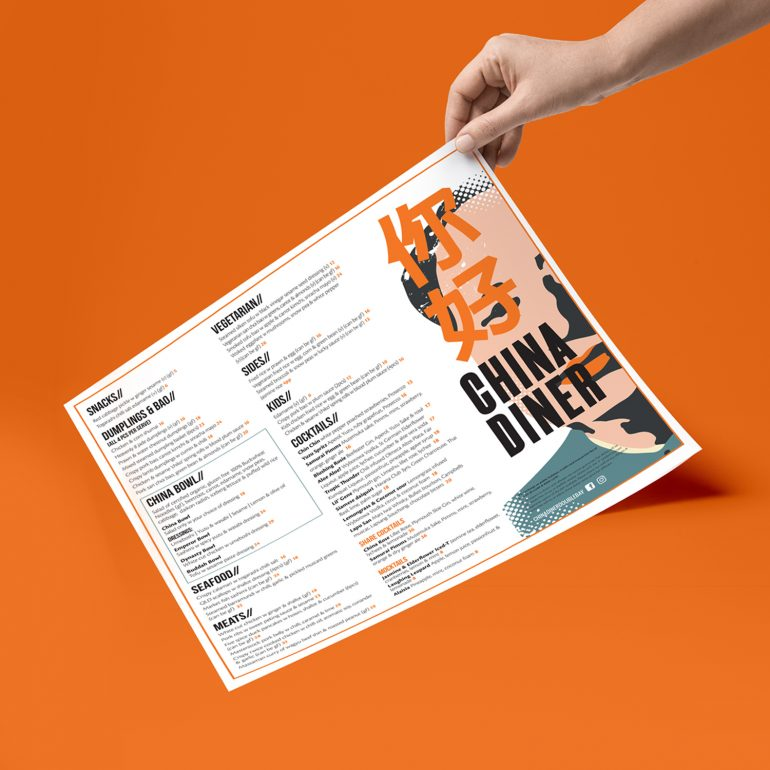 Website and Menu Design for China Diner